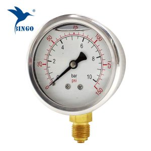 60mm Edelstahlgehäuse Messing Anschluss unten Typ Manometer 150PSI Öldruckmanometer